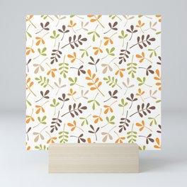 Assorted Leaf Silhouettes Ptn Retro Colors Mini Art Print