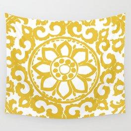 Mustard Yellow Ornament Wall Tapestry