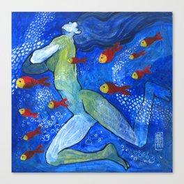 Sirene e pesci rossi Canvas Print