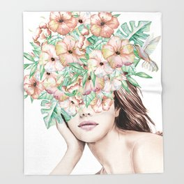 She Wore Flowers in Her Hair Island Dreams Throw Blanket