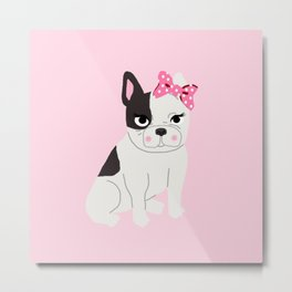 French Bulldog cute puppy baby animals for girls room pink nursery Metal Print