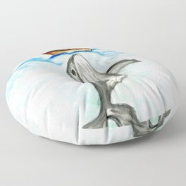 Cute whale and boat watercolor Floor Pillow