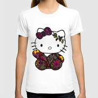 batik T-shirts featuring Batik Kitty Doodle Art by martywoodskk