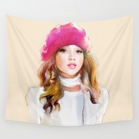 red riding hood Wall Tapestries featuring  red riding hood by tatiana-teni