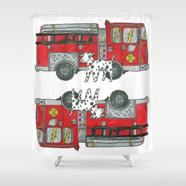 Fire Engine and Friend Shower Curtain