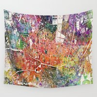 london map Wall Tapestries featuring London map  by mark ashkenazi