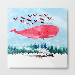 Flying Whale and steam train with Foxes Metal Print