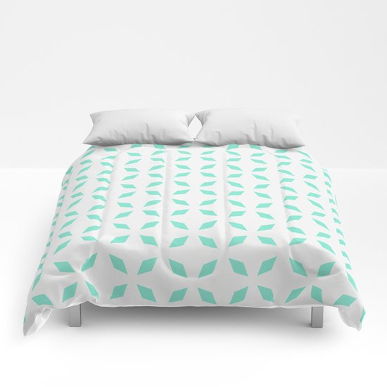 Mint green diamond pattern Comforters