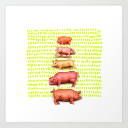 Stack of pigs on the green green grass of home Art Print