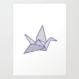 Swan, navy lines Art Print