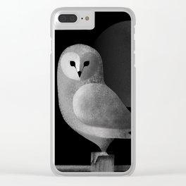 Barn Owl Full Moon Clear iPhone Case