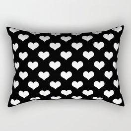 Black White Hearts Minimalist Rectangular Pillow