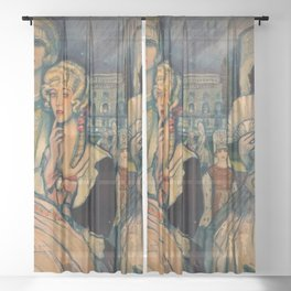 Marion Davis Monumental Portrait of the Gilded Age landscape painting by Federico Beltran Masses Sheer Curtain