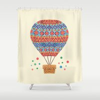 aviation Shower Curtains featuring Hot Air Balloon by haidishabrina
