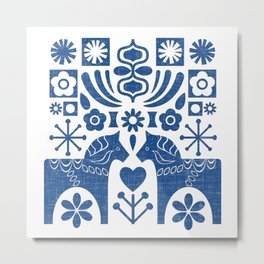 Swedish Folk Art - Blue Metal Print