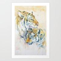 tigers Art Prints featuring Tigers by Sasita Samarnpharb