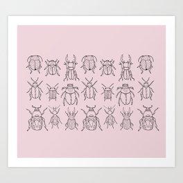 Beetles (Primrose Pink) Art Print