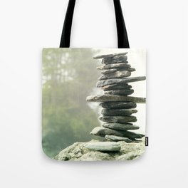 West Coast Inukshuk In A Summer Fog  #decor #society6 #buyart Tote Bag