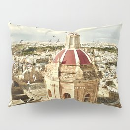 An aerial shot of the Parish Church of Saint Catherine, Zejtun Malta Pillow Sham
