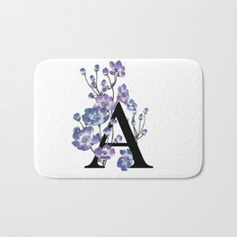 Letter 'A' Anemone Flower Typography Bath Mat