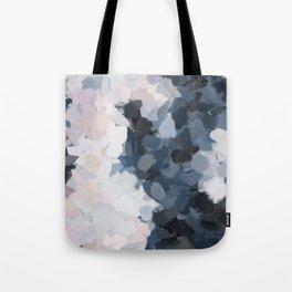 Navy Black Beige Lavender Abstract Art Moonlight Ocean Painting Tote Bag