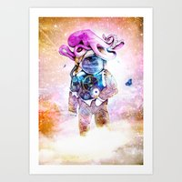 The spaceman & the octopus Art Print