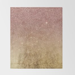 Pink Rose Gold Glitter and Gold Foil Mesh Throw Blanket
