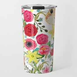 Easter rabbit with spring flowers, watercolor Travel Mug
