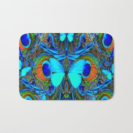 ELECTRIC NEON BLUE BUTTERFLIES & BLUE PEACOCK FEATHERS Bath Mat