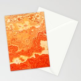 coral orange beige gold abstract marbled abstract digital painting Stationery Cards