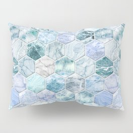 Ice Blue and Jade Stone and Marble Hexagon Tiles Pillow Sham