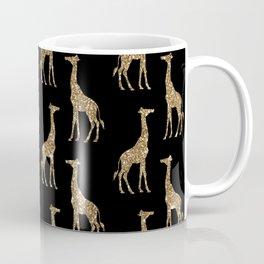 Black Gold Glitter Giraffe Pattern Coffee Mug