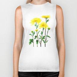 yellow chrysanthemum Biker Tank