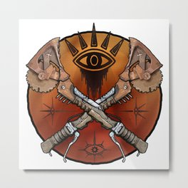Borderlands Psycho Buzz Axe Metal Print