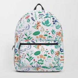 Summer Garden Flowers Leaves Botanical Blooms Watercolor Backpack
