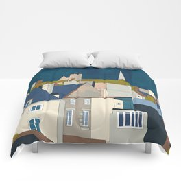 france houses abstract art Comforters