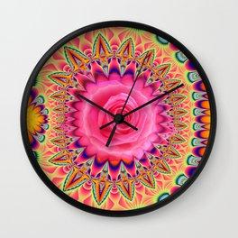 Sunny patterns and a hot pink rose, mixed media art Wall Clock