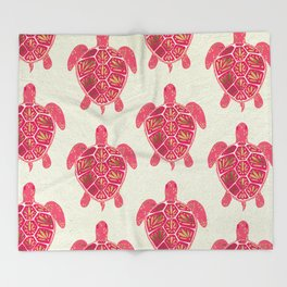 Sea Turtle in Pink & Gold Throw Blanket