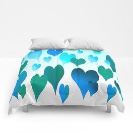 Hearts get Lighter (blue) Comforters