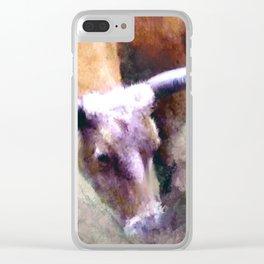 Texas Longhorn Cattle Art - Rumble Ready Clear iPhone Case