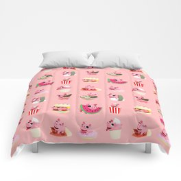 Rosa food collage pink Comforters