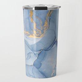 Abstract 1 Blue & Gold Art Print By LandSartprints Travel Mug