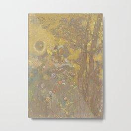 Trees on a Yellow Background - Odilon Redon Metal Print
