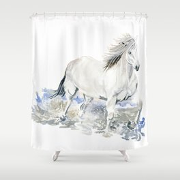Wild White Horse Shower Curtain