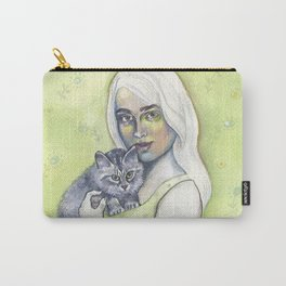 Girl with cat - by Fanitsa Petrou Carry-All Pouch