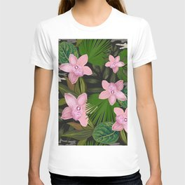 Jungle Warrior With Pink Orchid and Camouflage Pattern T-shirt