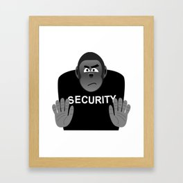 Monkey Security guard stopping the crowd Framed Art Print