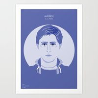 the breakfast club Art Prints featuring The Breakfast Club - Andrew by Pri Floriano