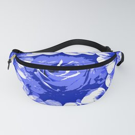 Roses Blue and White Toile #2 Fanny Pack