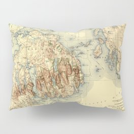 Map Of Acadia National Park 1931 Pillow Sham